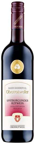 2019 er Oberrotweiler Spätburgunder Rotwein Qba. Trocken Bordeauxflasche